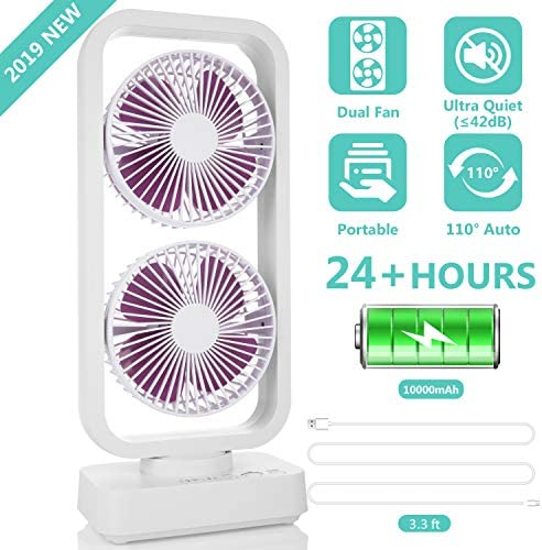 2019 New Portable Tower Fan, 10000mAh Cordless Oscillating Desk Fan with Dual Air Circulation System, 6-24H, Ultra Quiet Powerful Cooling Fan for Office, Home, Travel, Camping and Outdoor Activities