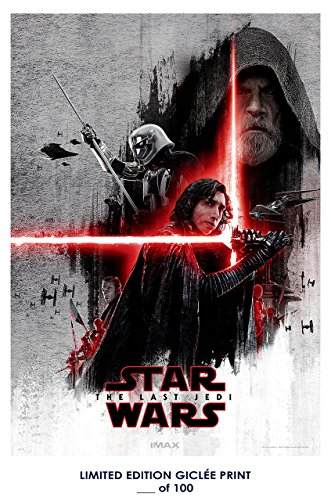 RARE POSTER thick luke skywalker STAR WARS: THE LAST JEDI kylo ren 2017 movie REPRINT #'d/100!! 12x18