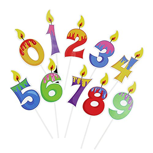 Winrase Cute 0-9 Number Candle Shape Cake Toppers Cupcake Toppers Kids Anniversary Birthday Party Decorations,Pack of -