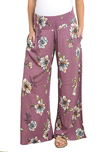 Hello Miz Women's Floral Wide Leg Comfy Maternity Pants – Made IN USA (Mauve,Small)
