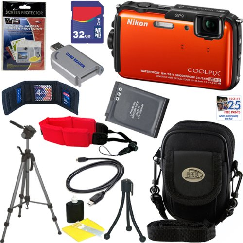 Nikon COOLPIX AW110 16 MP Waterproof Digital Camera with GPS & Built-In Wi-Fi (Orange) + EN-EL12 Battery + 10pc Bundle 32GB Deluxe Accessory Kit
