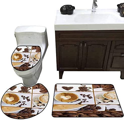 Anti-Slip mat 3 Piece Set Kitchen Coffee Themed Collage of Beans Mugs Hot Foamy Drink with a Heart Macro Aroma Photo Pattern Rug Set Brown White