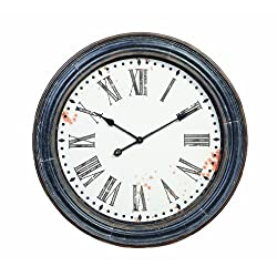 Creative Co-op Round Wood and Metal Wall Clock, 28-Inch