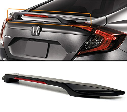 (Fits for 2016-2019 Honda Civic LX/EX/Touring 4 Door Sedan Trunk Lid Spoiler Wing W/LED 3rd Brake Light)