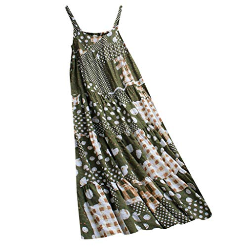 Price comparison product image HebeTop Women's Summer Casual Loose Dress Sleeveless Beach Cover Up Long Cami Maxi Dresses Green