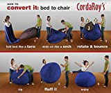 CordaRoy's Bean Bag Chair, Corduroy Convertible Chair Folds from Bean Bag to Bed, As Seen on Shark Tank - Navy, Full Size