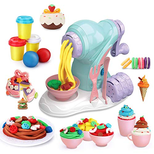 LITTLE SIENA Kids Play Dough Set Ice Cream Play Set Clay Molding Clay Dough Tools Set Noodle Maker Pretend Play Toy Kit Creative DIY Educational Fun Toy for Kids Boys Girls