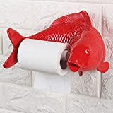 Shelfhx Creative Personality Fish Resin Toilet Paper Holder Distributor Home Wall-Mounted Waterproof Toilet Tray Toilet Paper Box Bathroom Accesories (Color : Red)