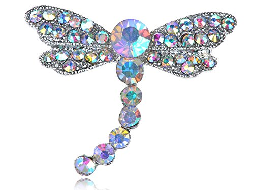 (Alilang Silvery Tone Iridescent Rhinestones Dragonfly Insect Wings Brooch Pin)