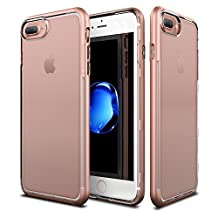 Patchworks Sentinel Case Rose Gold for iPhone 7 Plus / 6s Plus / 6 Plus - Military Grade Protection, Micro Texture Clear Transparent Dual Layer Cover Protective Bumper Case