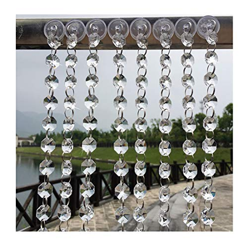 XIANGBAN 16FT Crystal Chandelier Gemstone Beaded, K9 Clear Glass Window Bead Curtain Wedding Party Tree Garland Decoration