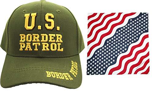 US Border Patrol Law Enforcement, 3D Embroidered Adjustable Baseball Cap w/ Bandanna (Green & Bandana)