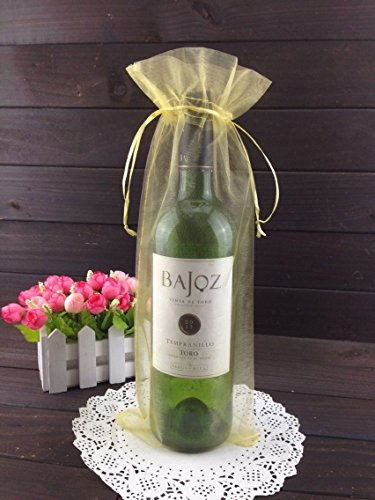 50pcs Organza Wine Bottle Cover Wrap Gift Bags Christmas/Wedding Plain Organza Pouch (Gold)