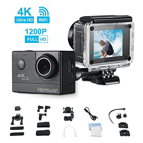 Action Camera, HAMSWAN F68 WiFi Sport Camera 4K HD Waterproof DV Camcorder with 170 Wide-Angle Lens and Rechargeable Battery, Including Full Accessories Kits and Waterproof Case (Hd Camcorder Waterproof)