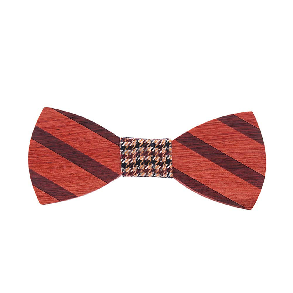 Mens Wooden Bowtie Vintage Style Natural Solid Wood Handmade Bow Tie with Gift Box