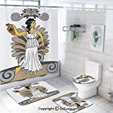 Toga Party Shower Curtain Sets,Greek Woman with Amphoras in Classical Style Colored Variant Art Toilet Pad Cover Bath Mat Shower Curtain Set 4 pcs Set,60x70 inch