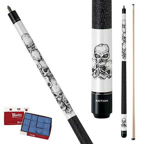Action Adventure ADV60 Stacked Skulls Pool Cue Stick with 12 pieces of Master Billiard Chalk (20)