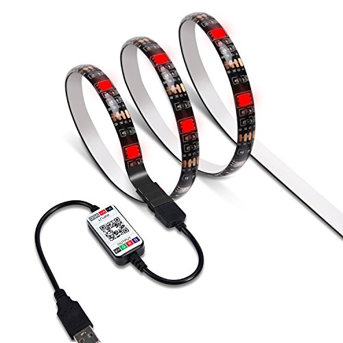 JACKYLED LED Strip Light App Bluetooth Control Waterproof-6.6ft RGB SMD5050 LED USB Plug 16 Million Colors Sync to Music & Timer Flexible Strong Adhesive Backlight Kit for TV Backlight DIY Light