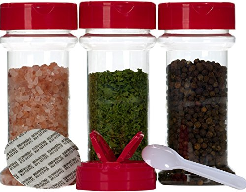 Spice Containers 10 sets - 7 oz. clear plastic pet spice jars storage container bottles with red sifter spoon caps - 10 bottles with caps - plus 2 mini spoons