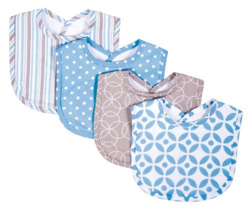 Trend Lab Logan Dooler/Feeder Bibs 4 Pack, Blue/White/Gray ()