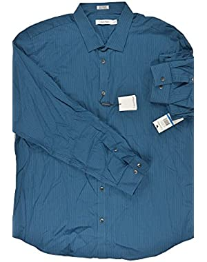 Calvin Klein Blue Micro Stripe Voile Dress Shirt XL