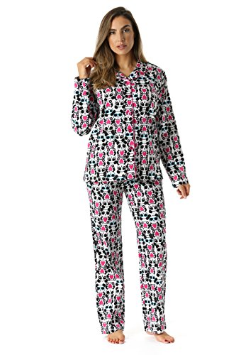 #followme 6371-10224-L Printed Flannel Button Front PJ Pant Set