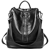 Women Backpack Purse PU Leather Fashion Travel Casual Detachable Covertible Ladies Shoulder Bag black