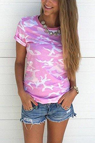 Mujeres Del Verano De Manga Corta Cuello Redondo Vino Casual T Shirt Top Pink