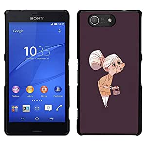 For Sony Xperia Z3 Compact Case , Granny Vecchia Signora Painting Art Clutch Capelli grigi - Diseño Patrón Teléfono Caso Cubierta Case Bumper Duro Protección Case Cover Funda