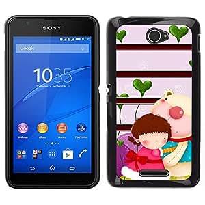 LECELL--Funda protectora / Cubierta / Piel For Sony Xperia E4 -- Pares lindos lindo --