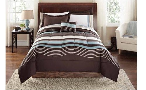 Brown & Blue Urban Striped Boys Queen Comforter Set