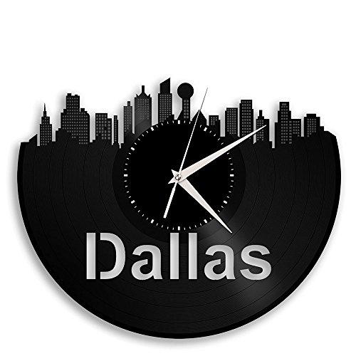 VinylShopUS Dallas Texas Vinyl Wall Clock Cityscape Travel Souvenir For Sale
