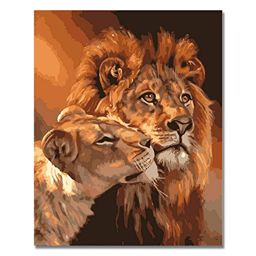 Paint By Number Walls (Rihe Lion Kings DIY Coloring Oil Painting Paint By Numbers Kits Drawing Paint On Canvas For Wall Art Picture For living room (Frameless))