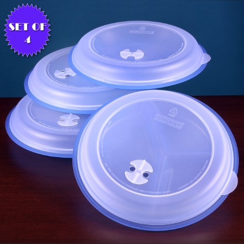 MICROWAVE DIVIDED PLATES WITH VENTED LIDS (Set of 4, blue) (Covered Plate)