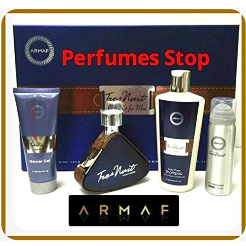 Tres Nuit By Armaf 4 Pc Gift Set Edt for Men 3.6 Oz+sh/g +Sampoo/c+bodyspray