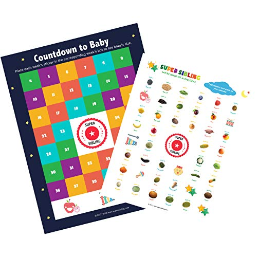 Countdown to Baby Calendar with growth chart stickers (Pregnancy Week By Week Fruit And Vegetable)