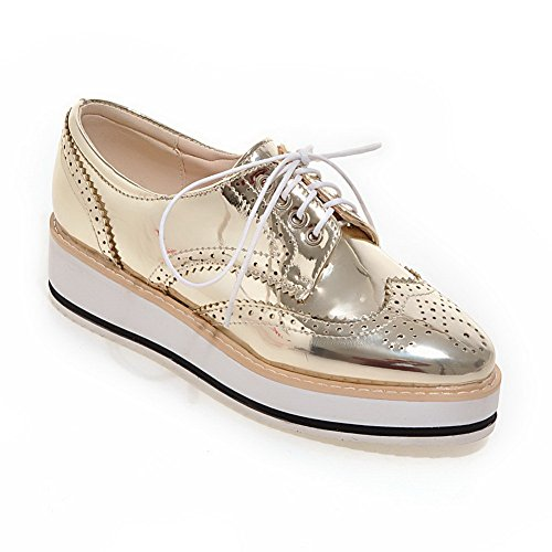 AdeeSu Womens Round-Toe No-Closure Patent Leather Spectator Urethane Pumps Shoes SDC03814 Gold H8p2CK