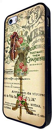 535 - Vintage Shabby Chic Victorian Floral Roses Mannequin Design iphone SE - 2016 Coque Fashion Trend Case Coque Protection Cover plastique et métal - Noir