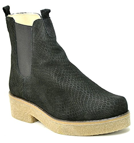 O.G.S. wide shoes Ogswideshoes Paola Black Croco Boots Extra Wide,C Width, 3e Width (9 3E) (Crepe Sole Shoes)