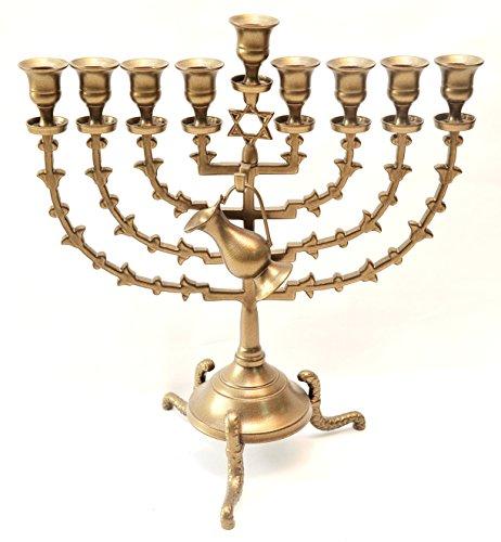 Menorah ( Hanukiah ) Brass Plated From Holy Land Jerusalem H/38 x W/35 CM by Jerusalem Menorah