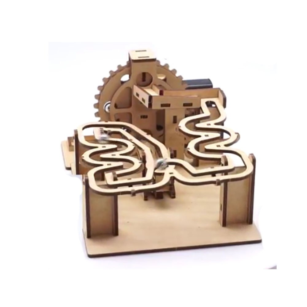 Mize DIY Wooden Motor Marble Run Automata Assembly Model kits (Motor Operating Track A0) Mechanical Puzzles for Kids & Kidults, Home Room Office Interior Decor, Smart Play