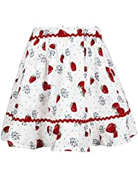 Girls Skirt Swing Dresses Vintage A-Line Flare Skirts with Casual Floral Print Cotton Summer Dress
