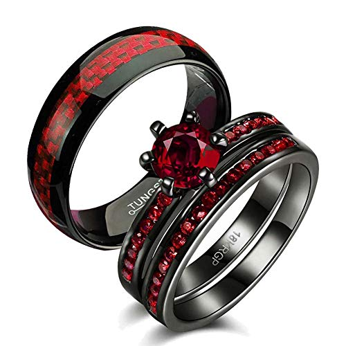 (Gy Jewelry Two Rings His and Hers Wedding Ring Sets Couples Rings Women's 2PC Black Gold Filled Red Agate Cubic Zirconia Wedding Engagement Ring Bridal Sets & Men's Tungsten Carbide Wedding Band)