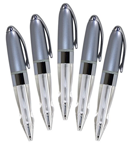 Iconikal Pull to Light Up and Open Night Writing in Dark LED Ballpoint Pen 5-Pack, Black Ink, White Light