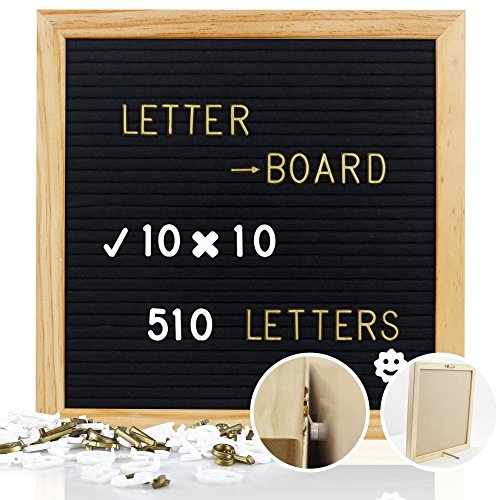 Mtouock Felt Letter Board with 510 Letters - 10 x 10 inches Changeable Letter Boards with Stainless Steel Stand - Message Sign Board, Pine Wood Frame, Wall Mount and Canvas Bag by Mtouock