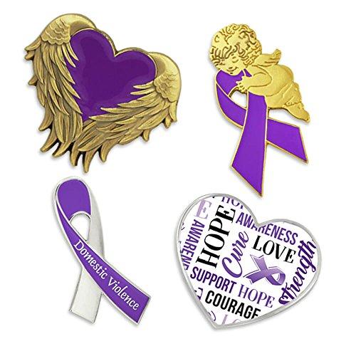 - PinMart Domestic Violence Awareness Purple Heart Ribbon Enamel Lapel Pin Set