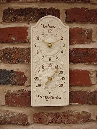 Outdoor Garden Wall Clock U0026 Thermometer   Sun U0026 Moon