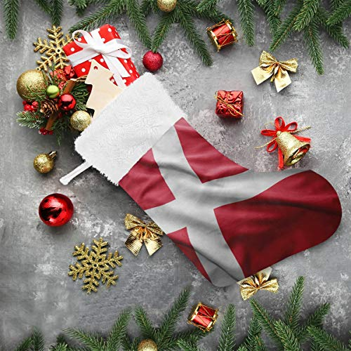 super3Dprinted Denmark Flag Christmas Stocking, 2Pcs 18 inches Socks for Xmas Home Decor, Stuffed Christmas Tree Hanging Toys, Candy Gift Bag Holders