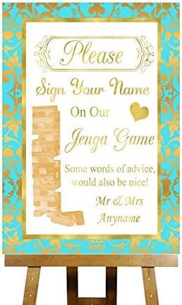 Jenga mensaje en inglés de juego de y verde menta y Printed Collection Tarjeta de personalizado de tu propio de boda para dorado diseño con texto en inglés, Small A5: Amazon.es: Oficina