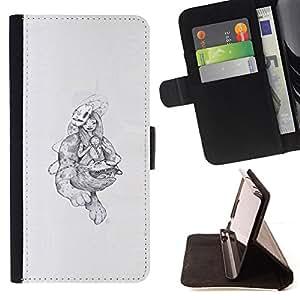 KingStore / Leather Etui en cuir / Sony Xperia Z3 D6603 / Monstruos abstractos